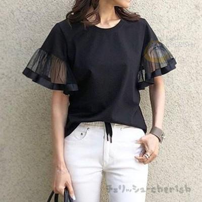 Tシャツ トップス レディース きれいめ 40代 切り替え 半袖トップス 黒インナー  オシャレ ブラウス  tシャツ 綿  大きいサイズ 着痩せ 韓国風