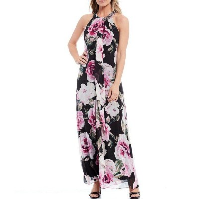 イグナイトイブニングス レディース ワンピース トップス Floral Print Sleeveless Halter Neck Maxi Dress Black Multi
