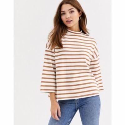 エイソス ASOS DESIGN レディース Tシャツ トップス high neck structured top in stripe