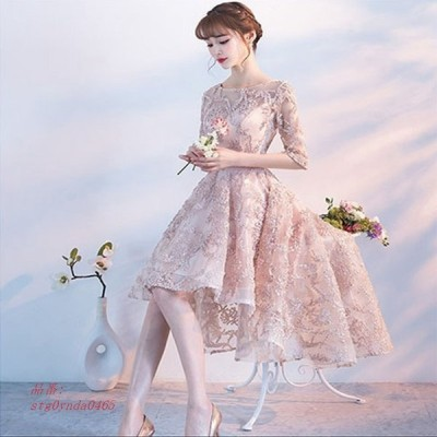 パーティー 撮影用ウェディングドレス レース パーティドレス プリンセス 袖あり 花嫁 披露宴 発表会