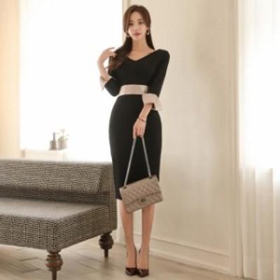 キャバドレス キャバ ドレス Vネック 韓国ドレス キャバクラ キャバワンピース パーティードレス 長袖 膝丈 タイト ワンピース