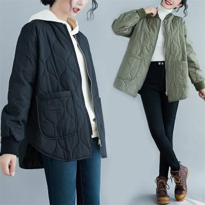 レディース 中綿ジャケット 綿入れ オーバーコート ショート ポケット 軽量 ノーカラー 女子アウター