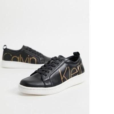 カルバンクライン レディース スニーカー シューズ Calvin Klein danya logo sneakers in black Black