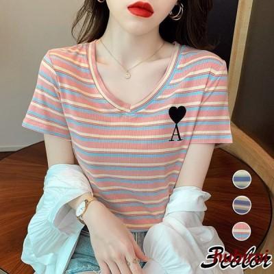 Tシャツ レディース きれいめ 40代 夏 半袖Tシャツ Vネックブラウス ボーダー柄トップス カジュアル韓国風 ゆったりカットソー オシャレ大きいサイズTシャツ
