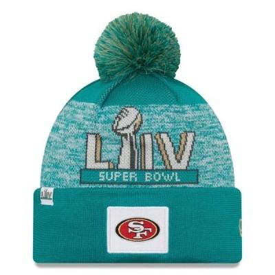 ユニセックス スポーツリーグ フットボール San Francisco 49ers New Era Super Bowl LIV Bound Pom Knit Hat - Aqua - OSFA 帽子
