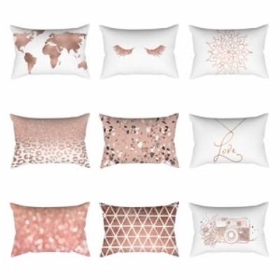 ソファーカーの装飾のためのローズピンクシリーズ印刷ポリエステル枕カバー