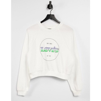 リーバイス レディース シャツ トップス Levi's raglan sweatshirt with circle logo in white