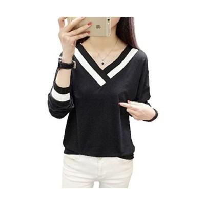 [1/2style(ニブンノイチスタイル)] 長袖 vネック ホワイト ブラック カットソー tシャツ レディース (ブラック M)
