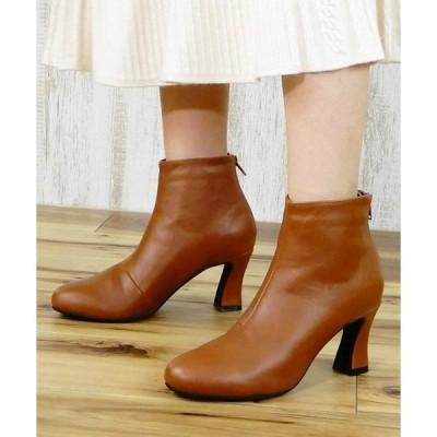 ブーツ 変形フレアヒールショートブーツ ◆