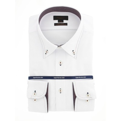 【タカキュー】 ノーアイロンストレッチ スリムフィットボタンダウン長袖ニットシャツ メンズ ホワイト M:39-80 TAKA-Q