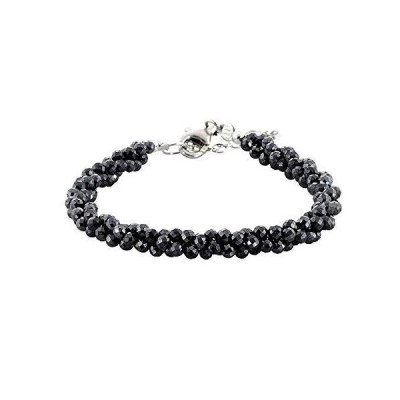 NirvanaIN Black Spinel Bracelet Black Jewelry gift for her Twisted Black Spinel Bracelet Three Line Handmade Jewelry with Adjustable Silver
