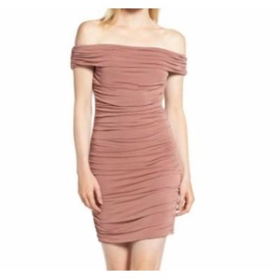 ファッション ドレス TROUVE Womens Pink Size Large L Ruched Off-Shoulder Sheath Dress