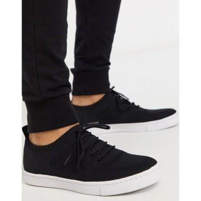 エイソス メンズ スニーカー シューズ ASOS DESIGN sneakers in black knitted mesh