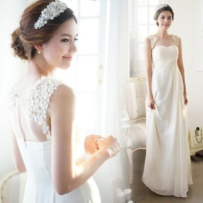 ウェディングドレス 3色 エレガンス ドレス ノースリーブ 結婚式 二次会 結婚式ワンピース お呼ばれ フォーマルドレス ブライズメイドドレス 優しい おしゃれ