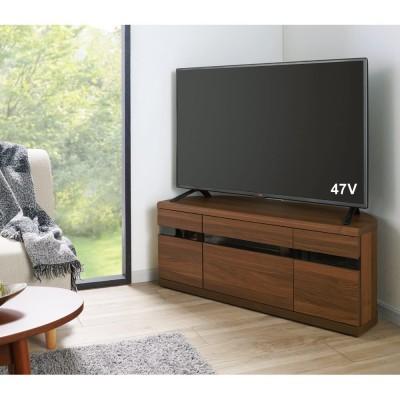 大型テレビが見やすいスイングコーナーテレビ台 幅110cm ナチュラルオーク