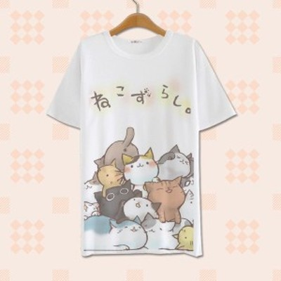 猫かわいい愛らしい裏庭コミックポリエステルミルクシルクシャツ女性トップス原宿シャツ日本カワイイ女の子着用