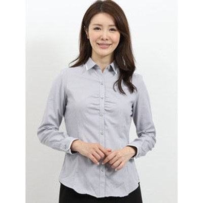 形態安定レギュラーカラー ギャザーステッチ長袖シャツ