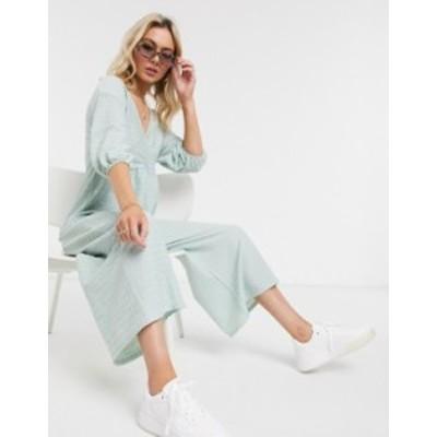エイソス レディース ワンピース トップス ASOS DESIGN jersey wrap smock textured frill sleeve jumpsuit in mint green Mint green