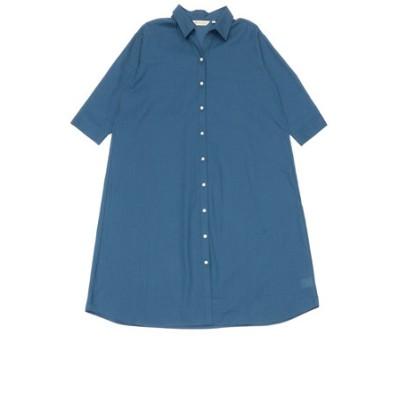 レディース ウィメンズ カジュアル 七分袖 ロングシャツ スキッパー衿 ブルー×無地調