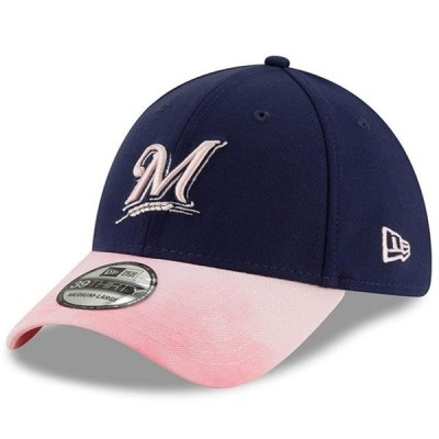 ユニセックス スポーツリーグ メジャーリーグ Milwaukee Brewers New Era 2019 Mother's Day 39THIRTY Flex Hat - Navy/Pink 帽子
