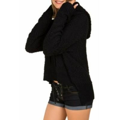 ファッション トップス POL Womens Black Size Small S High Low Textured Hooded Sweater