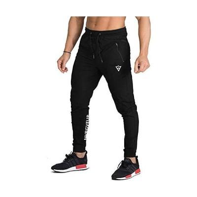 [Manatsulife] トレーニング ジョガーパンツ スポーツ ランニング フィットネス アクティブ アウトドアK-25 (ブラック, M)