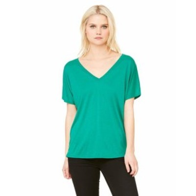 Simple  ファッション トップス Clementine Womens Flowy Simple V-Neck T-Shirt CLM8815TN All Sizes
