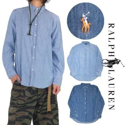 ボーイズサイズ ラルフローレン 長袖シャツ メンズ レディース POLO RALPH LAUREN アイコン Tシャツ 小さいサイズ ブルー シャンブレーシャツ