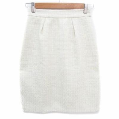 【中古】未使用品 ミッシュマッシュ スカート タイト ひざ丈 ツイード 38 白 ホワイト アイボリー /FF40 レディース