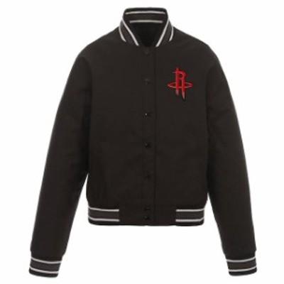 JH Design ジェイエイチ デザイン スポーツ用品  JH Design Houston Rockets Womens Black Poly-Twill Full-Snap Jacket