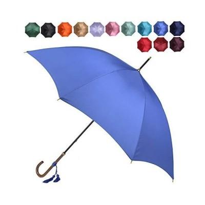 [ワカオ] スリム 雨傘 長傘 軽量 スタイリッシュ 天然木 日本製 ロイヤルブルー(67)