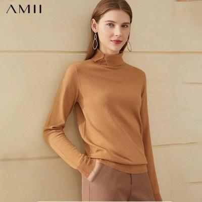 海外輸入アパレル Amii Minimalism Winter Women's Sweater Fashion 100%wool Solid