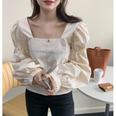 韓国 ファッション レディース ブラウス トップス スクエアネック ボリューム袖 背中見せ バックシャン 長袖 ゆったり シンプル 無地 レ