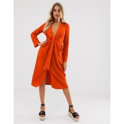 エイソス レディース ワンピース トップス ASOS DESIGN casual textured midi dress with knot waist Tomato