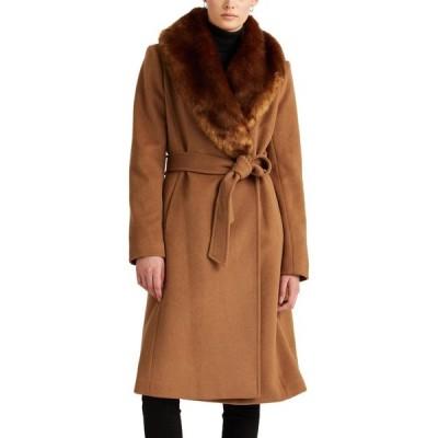 ラルフ ローレン LAUREN RALPH LAUREN レディース コート ラップコート ファーコート アウター Wool Blend Belted Wrap Coat With Faux Fur Collar New Vicuna
