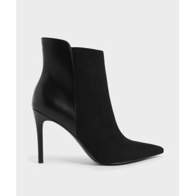 ブーツ テクスチャード スティレットヒールアンクルブーツ / Textured Stiletto Heel Ankle Boots
