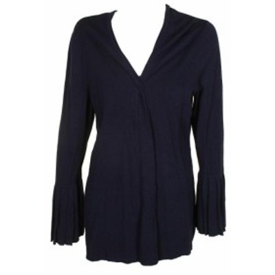ファッション トップス Charter Club Plus Size Fearless Blue Pleated Sleeve Cardigan
