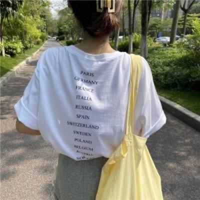 2020SS トップス Tシャツ レディース バックロゴ 白T ゆったり オルチャン 韓国ファッション プチプラ TA07070