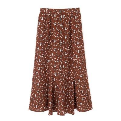 《Sシリーズ対応商品》花柄フロントボタンマキシスカート