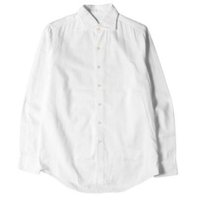 Finamore フィナモレ シャツ シャドーストライプ柄 コットン ボタン シャツ ホワイト 15 1/4 40 【メンズ】【中古】【K2906】