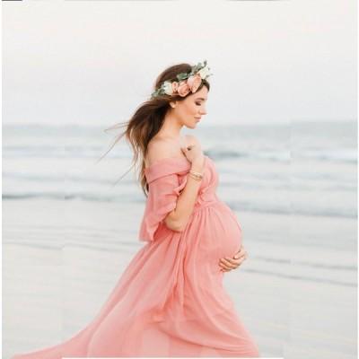 マタニティドレス マタニティフォト 妊婦 写真撮影 オフショルダー ロング 妊婦ドレス 4サイズ