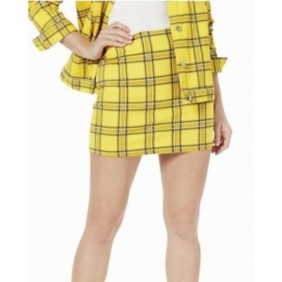 GUESS ゲス ファッション スカート Guess Womens Skirt Yellow Size XS Mini Plaid Clueless Straight
