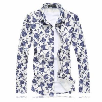 総柄 シャツ メンズ シャツ 長袖シャツ アロハシャツ 和柄 花柄 スリム お兄系シャツ ワイシャツ 大きいサイズ 秋物