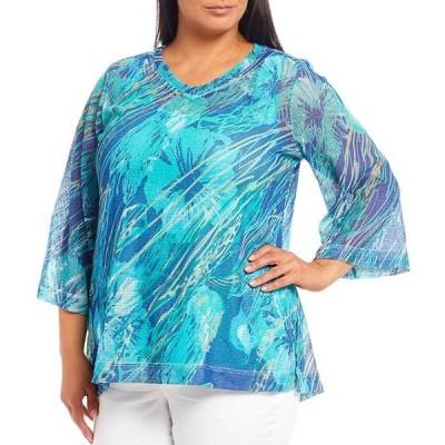 アリ マイルス レディース Tシャツ トップス Plus Size Abstract Print V-Neck 3/4 Sleeve Mesh Top