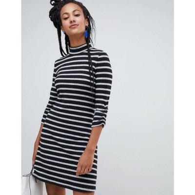 エスプリ Esprit レディース ワンピース ワンピース・ドレス high neck stripe dress in black and white Multi