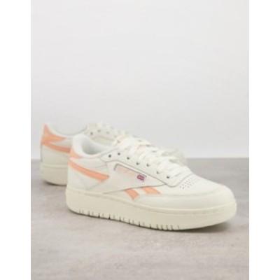 リーボック レディース スニーカー シューズ Reebok Club C Double sneakers in off white with orange details White