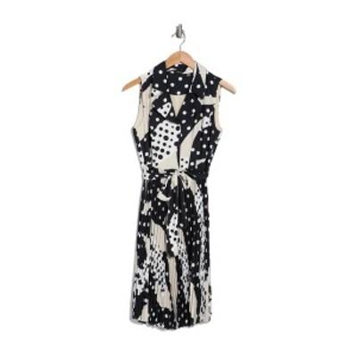 ティー・タハリ レディース ワンピース トップス Pleated Notch Collar Warap Dress PRINT