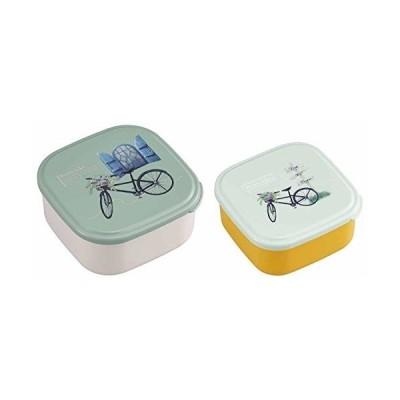 OSK 弁当箱 タイトボックス レトロバイク シール容器2個セット (360ml・550ml/フタを外してレンジOK/コンパクト収