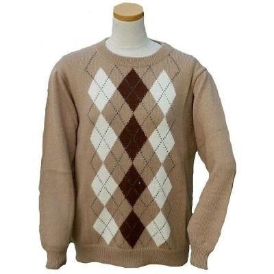 ALC-037-2 アルパカ100%セーター 丸首 男女 アーガイル柄 暖かい 綺麗