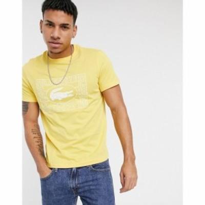 ラコステ Lacoste メンズ Tシャツ トップス Crocodile Print Crew Neck T-Shirt イエロー
